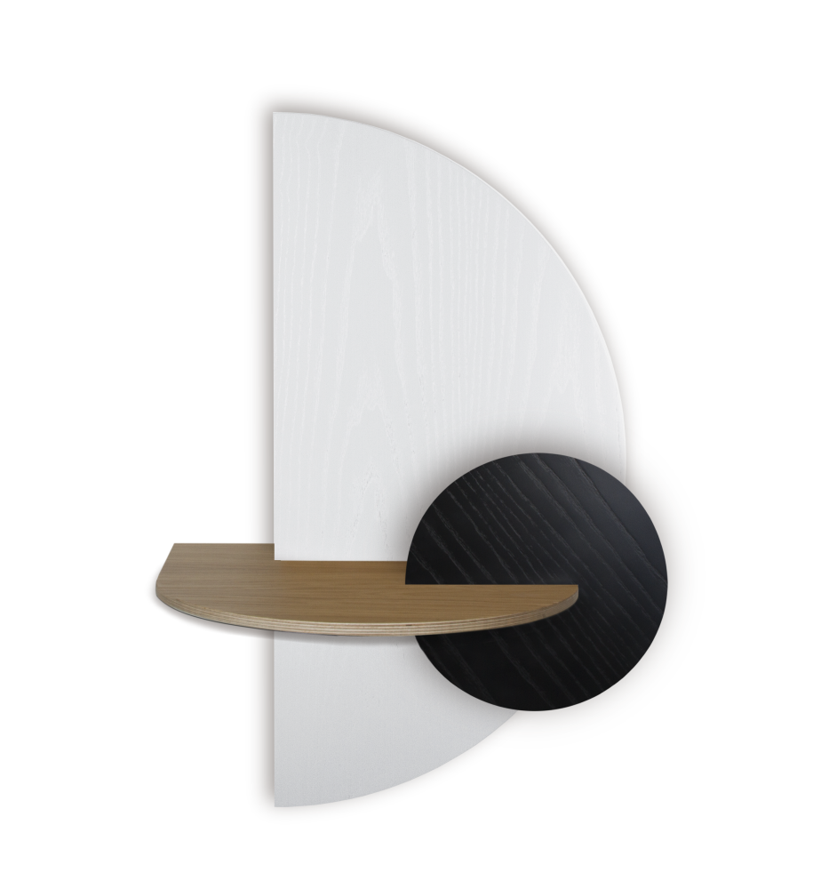 ALBA L, White Semi circle, Oak cover and round Black front panel,WOODENDOT,Bedside Tables,beige,paper towel holder,sconce