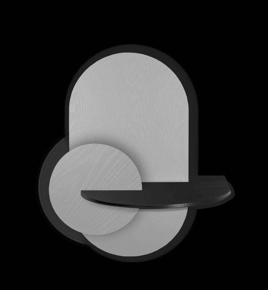 ALBA L - Oval. Modular bedside shelf. Storage. Customizable.  by WOODENDOT