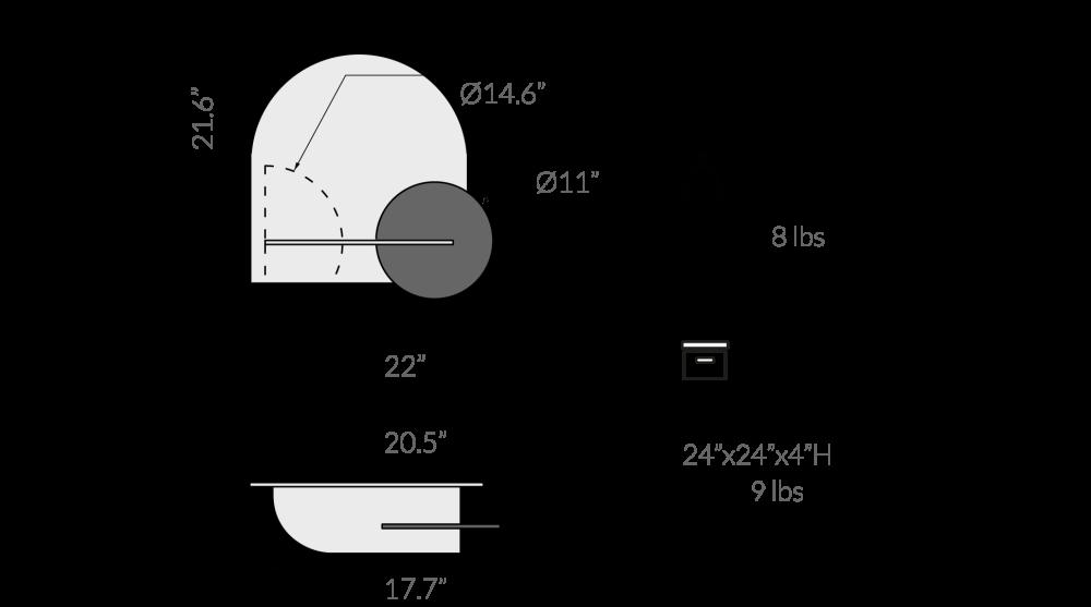 ALBA M, Oak herringbone, Oak cover and semi circle Black front panel,WOODENDOT,Bookcases & Shelves,diagram,text