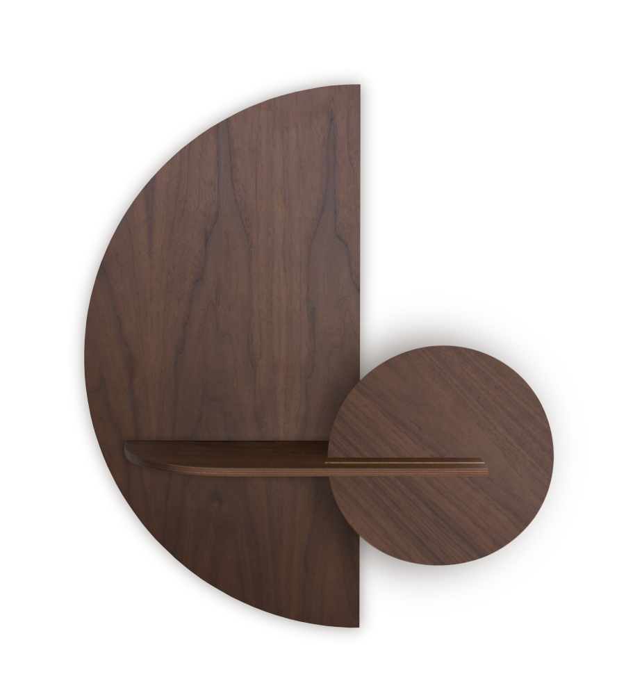 ALBA M, Walnut semi circle, Walnut shelf and round walnut front panel,WOODENDOT,Wall Décor,furniture,product,table,wood