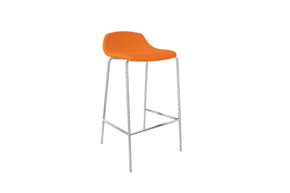Chromed Metal, Simil Leather Aurea 1,Gaber,Stools,bar stool,furniture,orange,stool