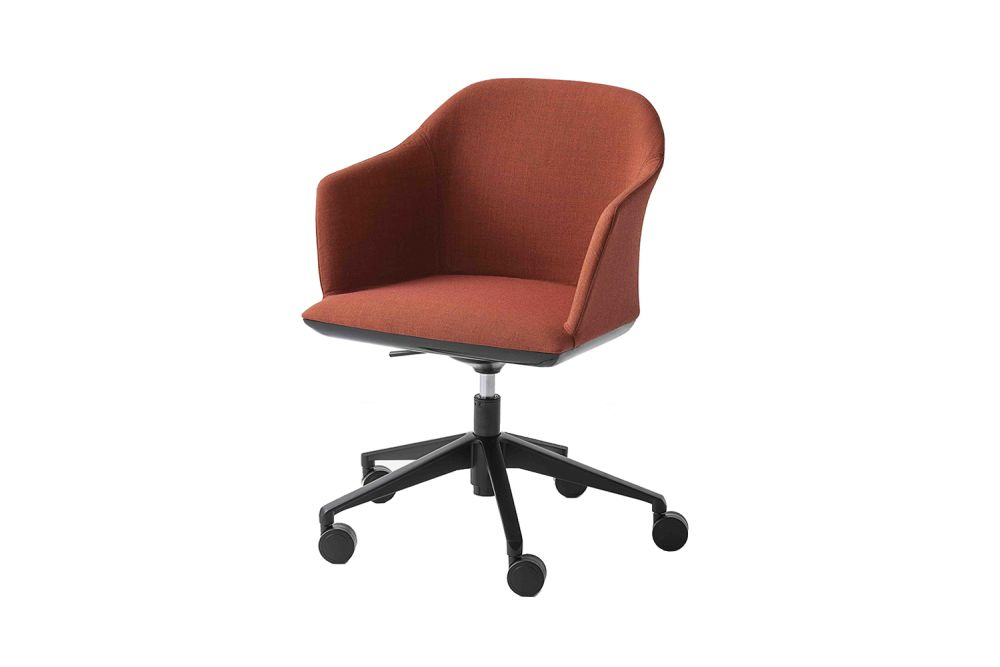King Fabric 4021, Black Aluminium,Gaber,Conference Chairs,chair,furniture,line,material property,office chair,orange,product