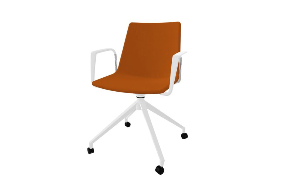 White Aluminium, King Fabric 4021,Gaber,Conference Chairs,chair,furniture,line,office chair,orange