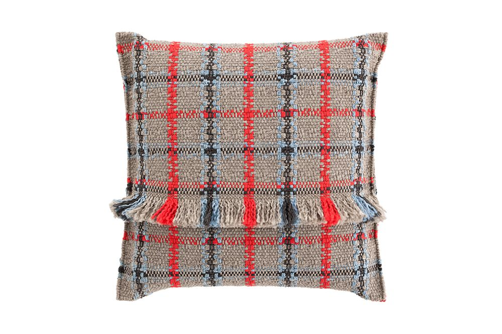 Diagonal almond-ivory,GAN,Cushions,beige,cushion,design,furniture,pattern,pillow,plaid,red,tartan,textile