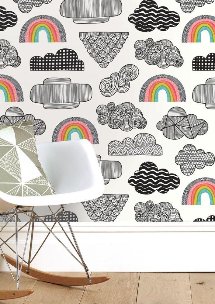 Clouds + Rainbow Wallpaper by Sian Elin