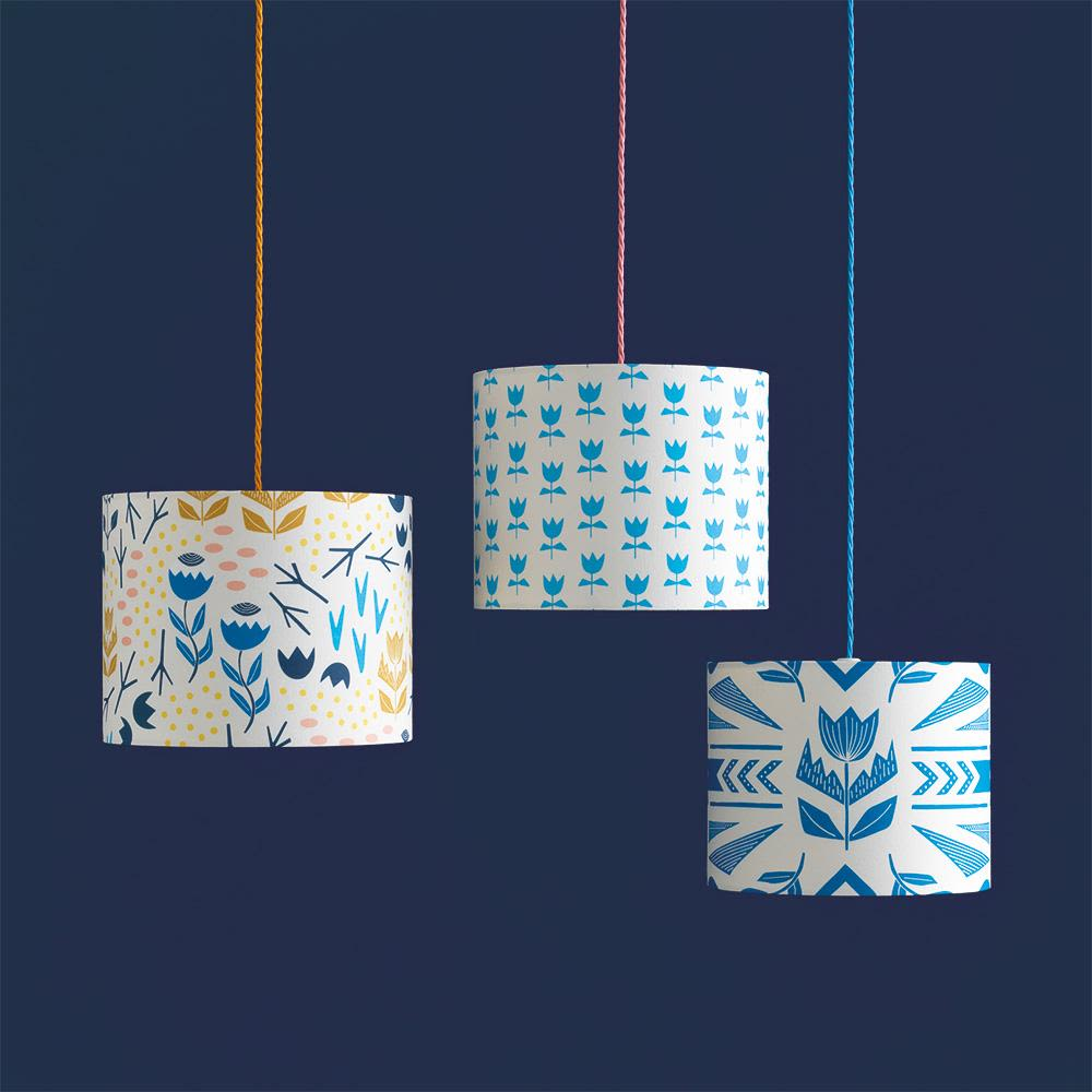 Flora Lampshade (Navy) by Sian Elin