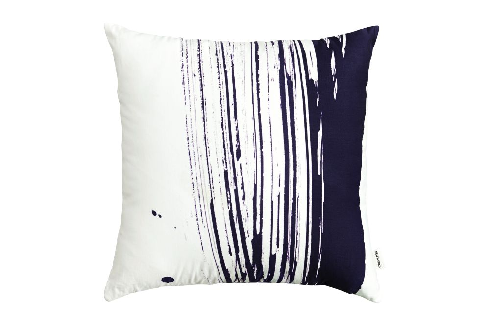 Marine Blue,New Works,Cushions,black,black-and-white,cushion,furniture,linens,pillow,product,textile,throw pillow,white