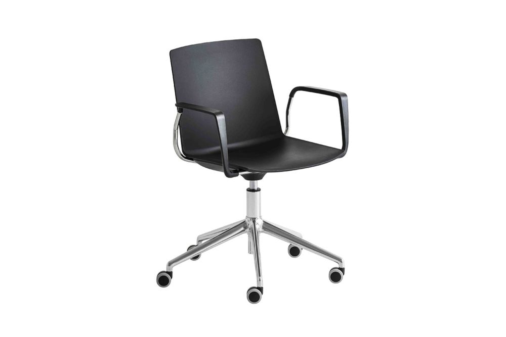 Jubel 5R Bracciolo Swivel Chair with Arms and Castors Set of 4 by Gaber