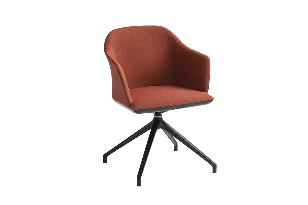 King Fabric 4021, White Aluminium,Gaber,Breakout Lounge & Armchairs,brown,chair,furniture,line,office chair,orange