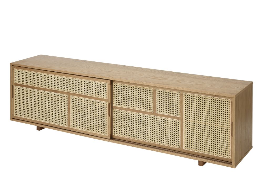 Oak, Cane,Design House Stockholm,Cabinets & Sideboards,bench,furniture,outdoor table,rectangle,sideboard,table,wood