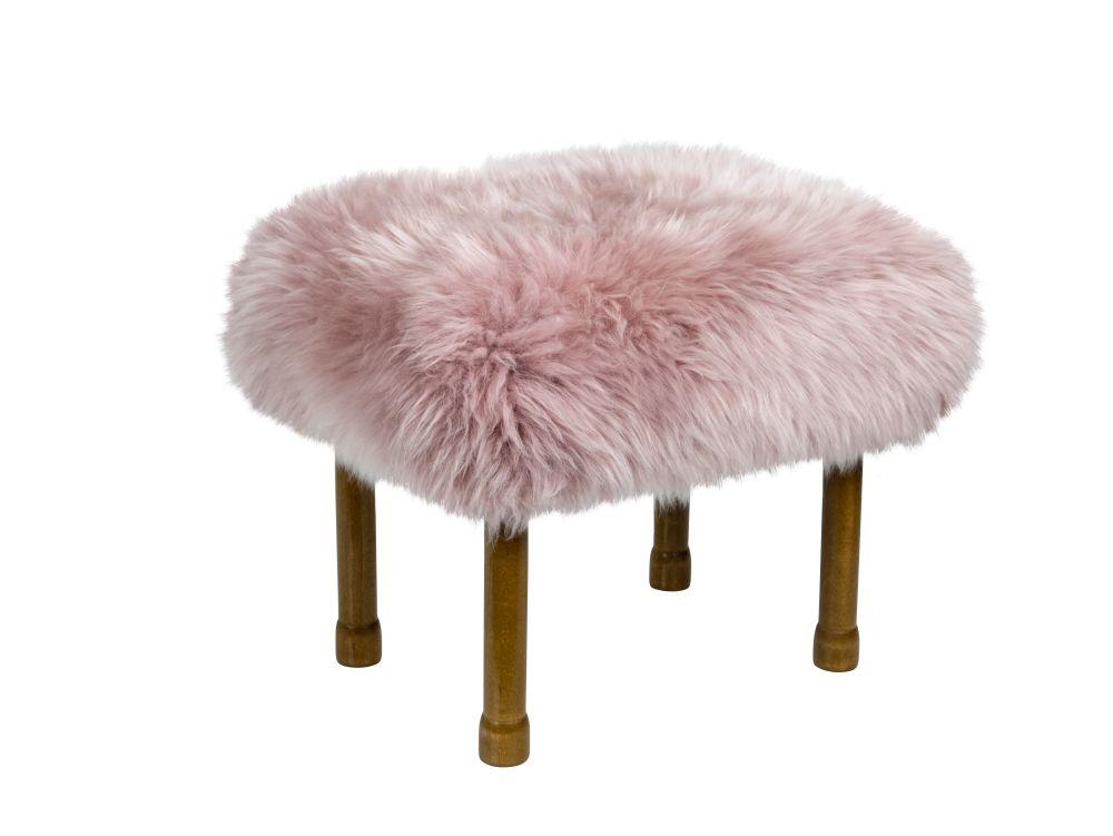 Dusky Pink,Baa Stool,Footstools,beige,fur,furniture,ottoman,stool