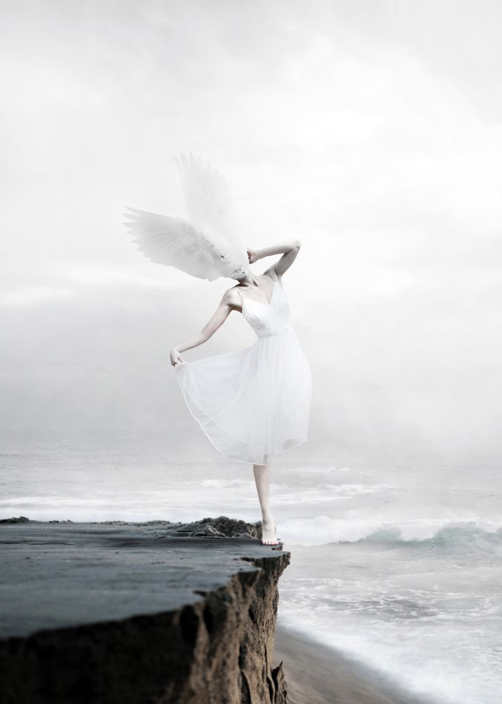 The White Sky XIX Mural,Mineheart,Wallpapers,angel,atmospheric phenomenon,dress,sea,sky,white,wing
