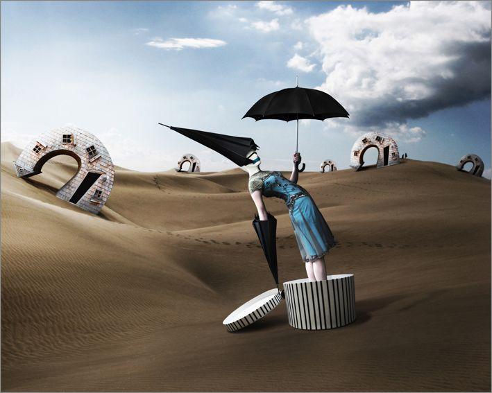Pray For Rain Rug,Mineheart,Rugs,illustration,landscape,natural environment,sand,sky,umbrella