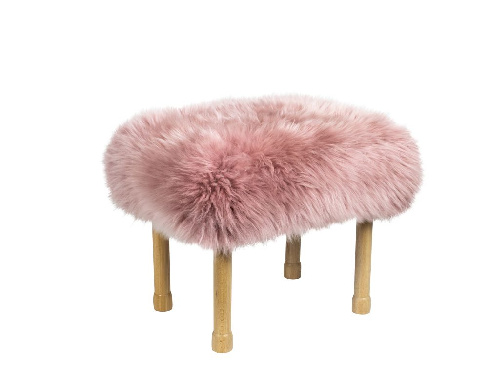 Dusky Pink,Baa Stool,Footstools,fur,furniture,pink,stool