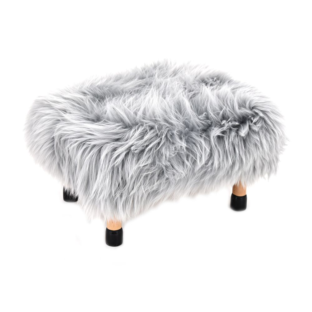 Silver,Baa Stool,Footstools,fur,furniture