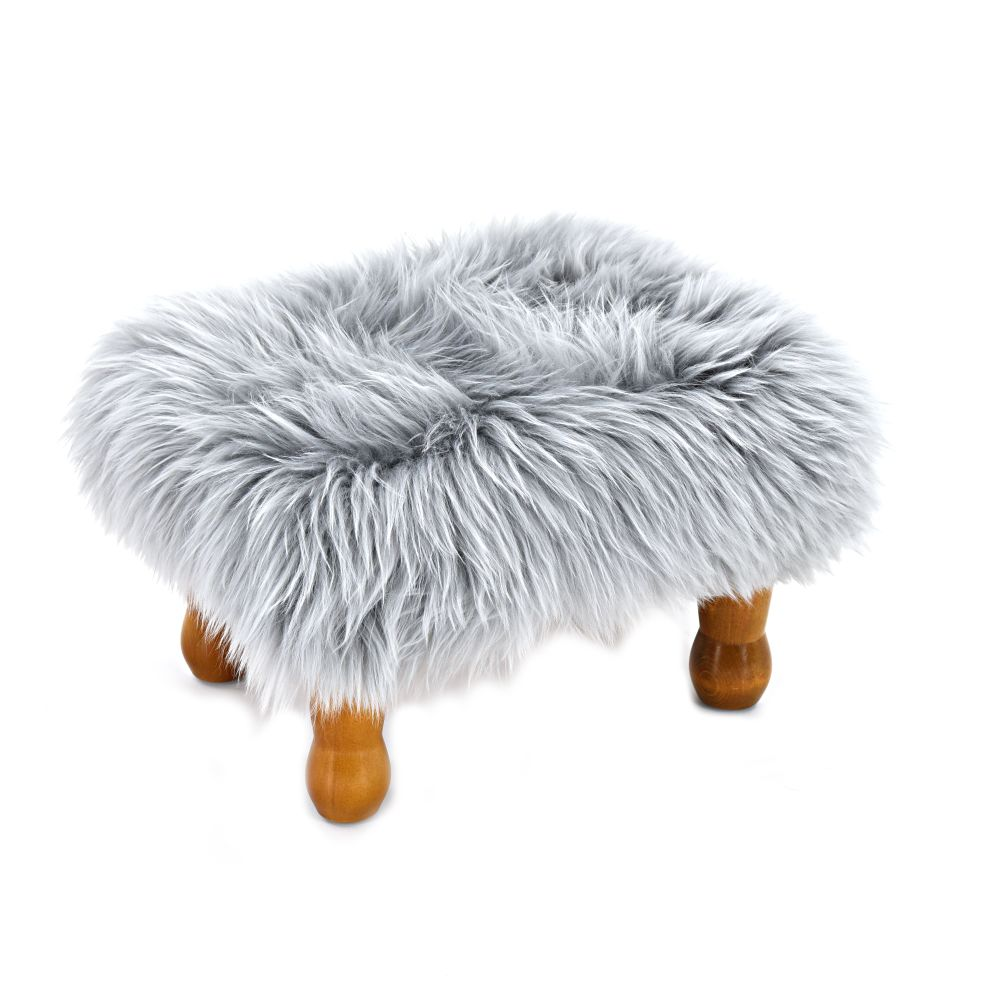 Silver,Baa Stool,Footstools,fur,furniture