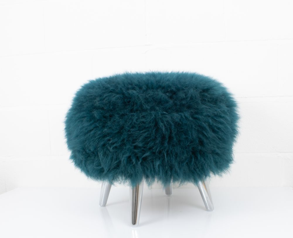 Ivory,Baa Stool,Footstools,blue,fur,furniture,stool,teal,turquoise,wool
