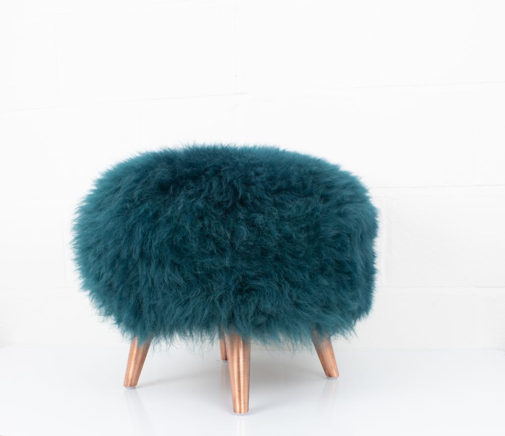 Ivory,Baa Stool,Footstools,blue,fur,furniture,stool,teal,turquoise