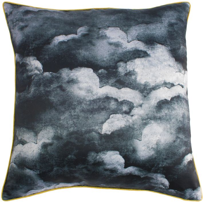Smokey Blue Clouds Cushion,Mineheart,Cushions,aqua,black,blue,cloud,cushion,design,furniture,green,home accessories,leaf,pattern,pillow,sky,teal,textile,throw pillow