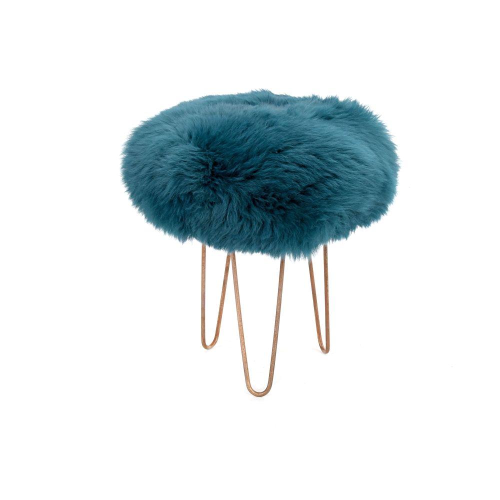 Teal,Baa Stool,Footstools,fur,stool,turquoise