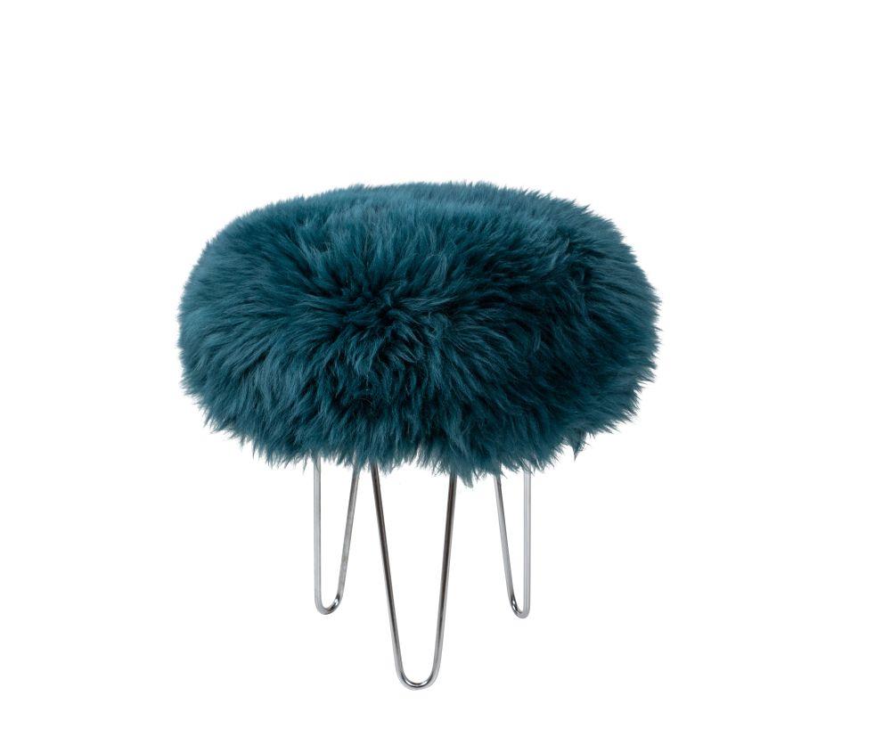 Teal,Baa Stool,Footstools,fur,furniture,headgear,stool,teal,turquoise