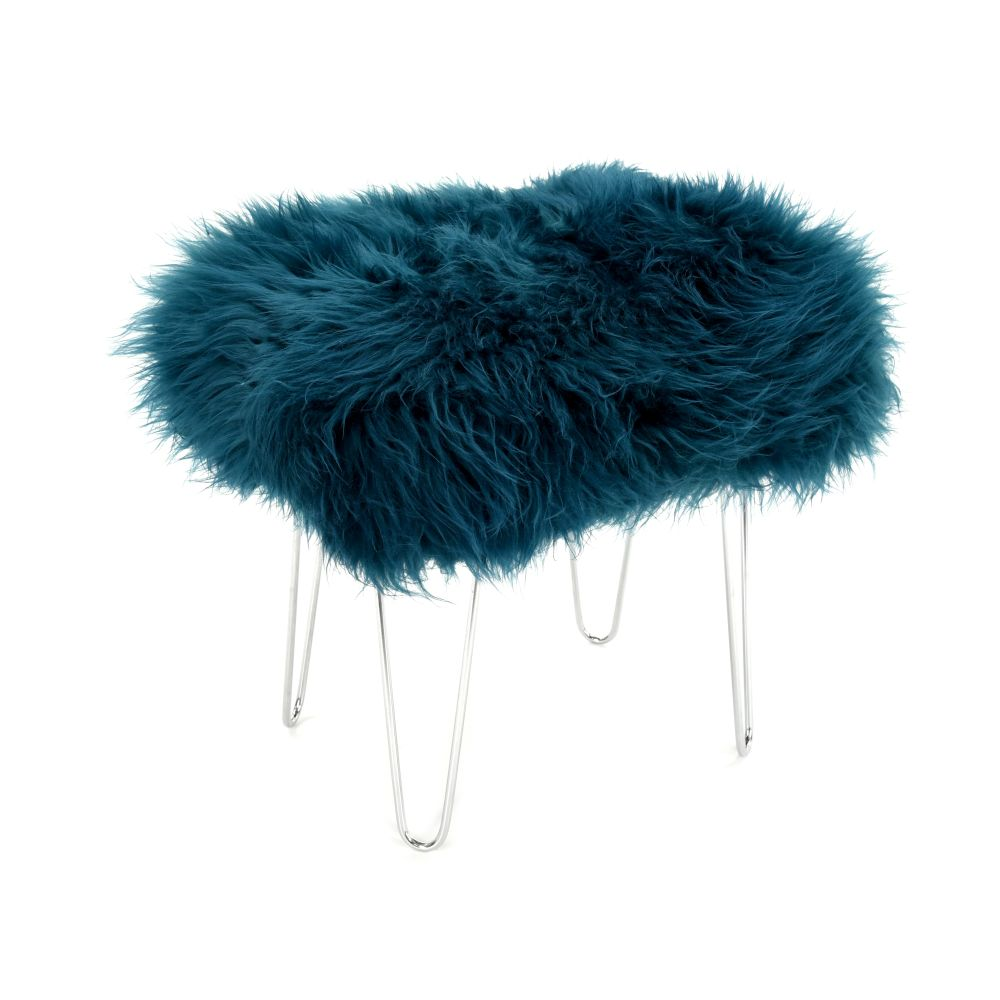 Aubergine,Baa Stool,Occasional Chairs,feather,fur,headgear,turquoise