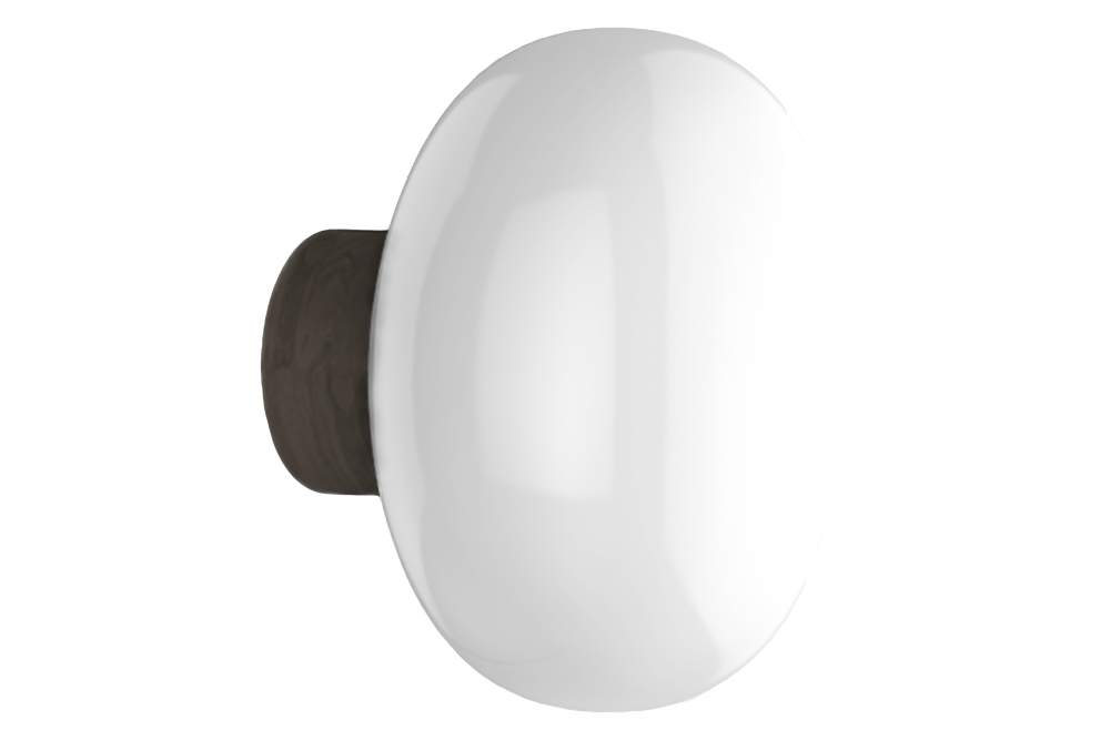 Smoked Oak w. White Opal Glass,New Works,Wall Lights,ceiling,light fixture,lighting,sconce,white