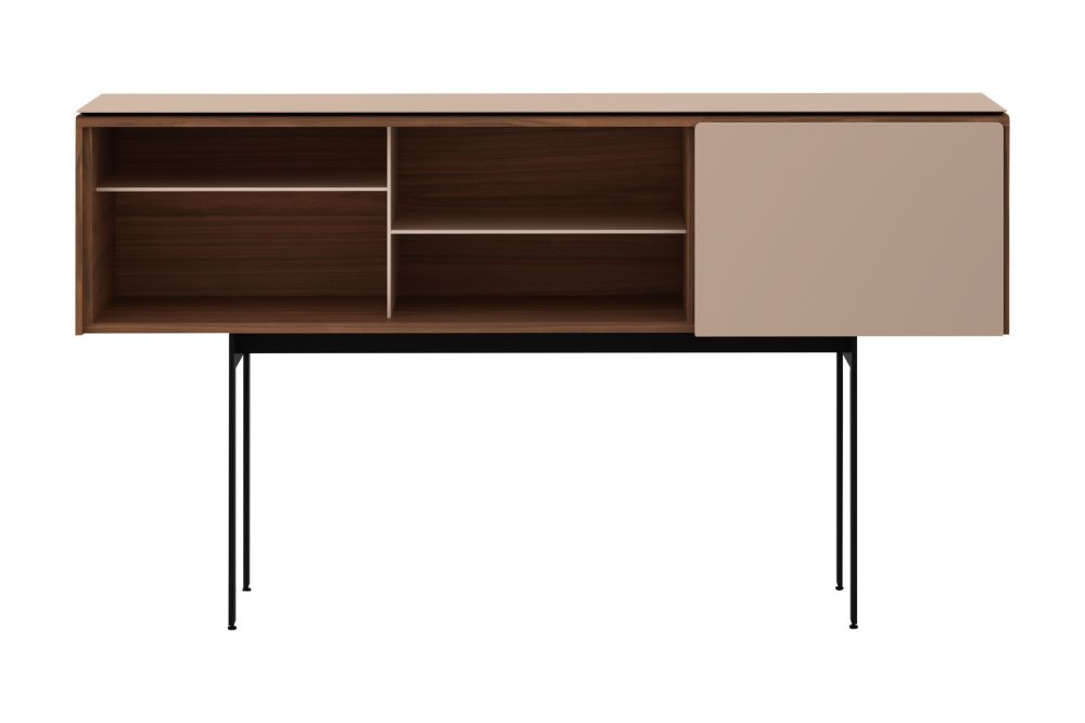 Dark Stained Walnut, Anodised Aluminium Gold, White RAL9016,Punt,Cabinets & Sideboards,computer desk,desk,furniture,hutch,shelf,sideboard,table,writing desk