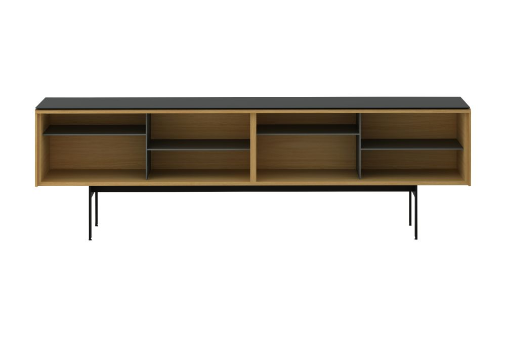 Dark Stained Walnut, Anodised Aluminium Gold, White RAL9016, 29,Punt,Cabinets & Sideboards,desk,furniture,hutch,rectangle,shelf,shelving,sideboard,table