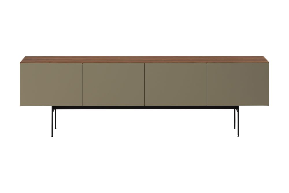Dark Stained Walnut, Anodised Aluminium Gold, White RAL9016, 4,Punt,Cabinets & Sideboards,desk,furniture,rectangle,sideboard,table