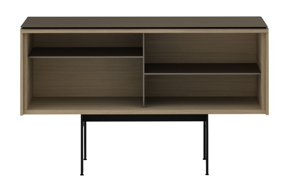 Dark Stained Walnut, Anodised Aluminium Gold, White RAL9016,Punt,Cabinets & Sideboards,chest of drawers,desk,drawer,furniture,hutch,shelf,shelving,sideboard,table