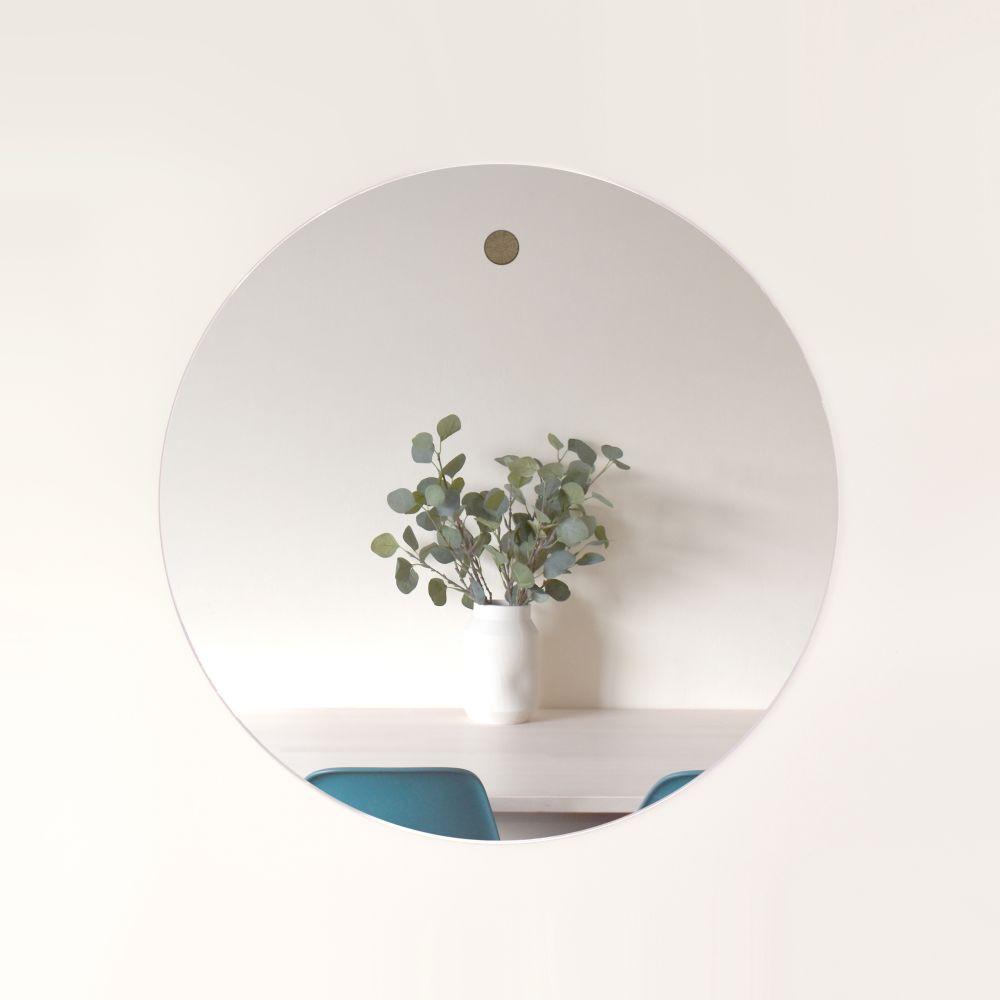 Large Harpa mirror with ash dowel,Psalt Design,Mirrors,circle,white