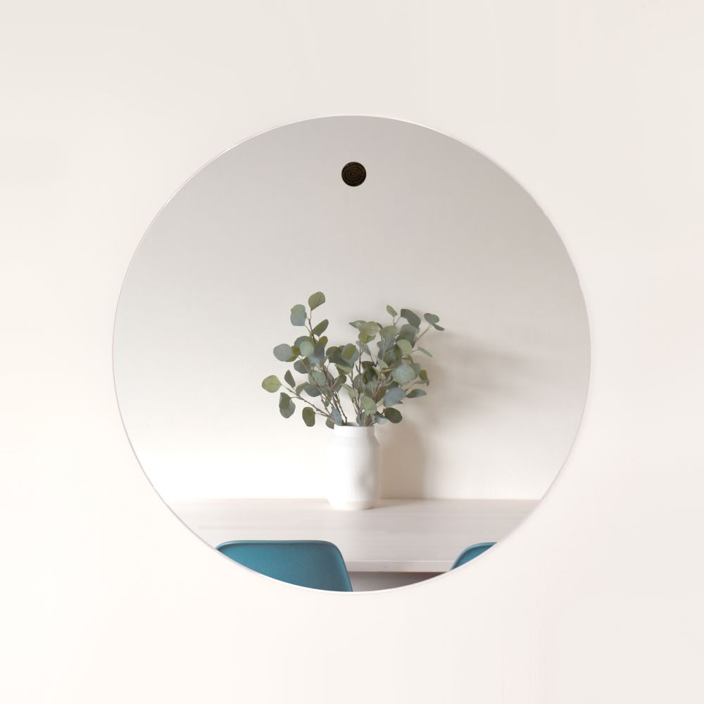 Large Harpa mirror with ash dowel,Psalt Design,Mirrors,circle,wall,white