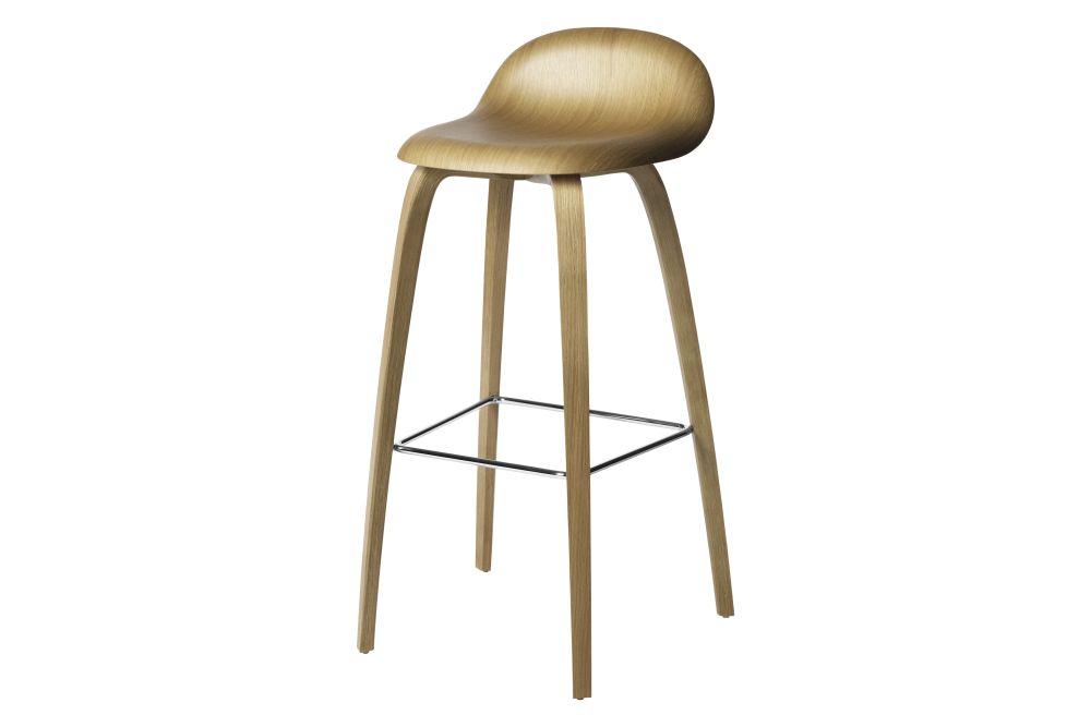 Gubi HiRek Black Semi Matt, Gubi Wood American Walnut, Gubi Metal Chrome, Felt Glides,GUBI,Stools,bar stool,furniture,stool