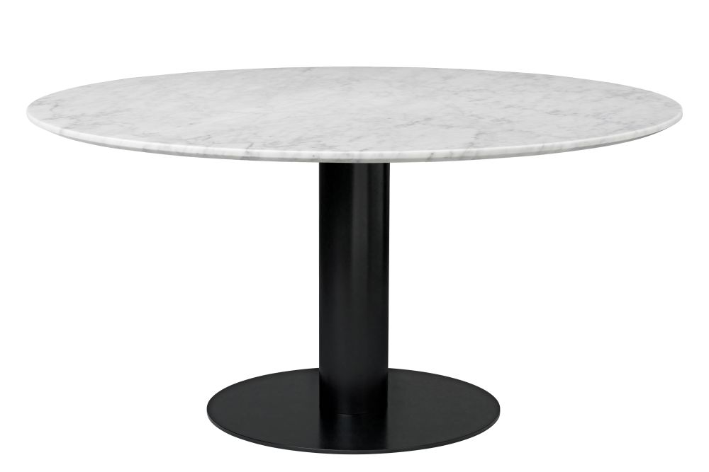 Gubi Metal Black, Gubi Marble Bianco Carrara, Ø150,GUBI,Dining Tables,coffee table,end table,furniture,outdoor table,table