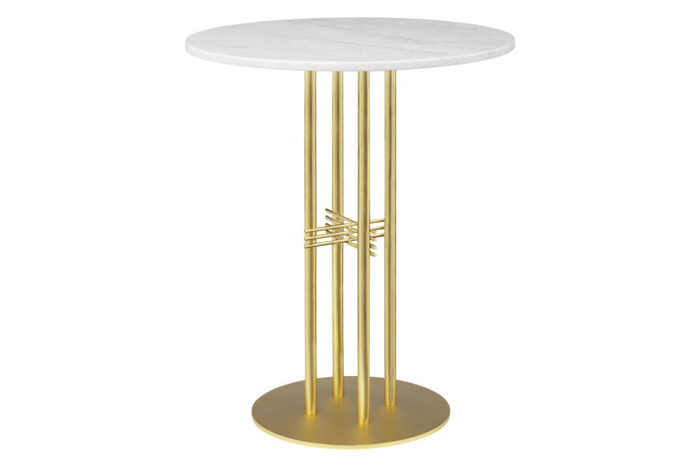 Gubi Marble Bianco Carrara, Gubi Metal Brass, Ø 80,GUBI,High Tables,furniture,table