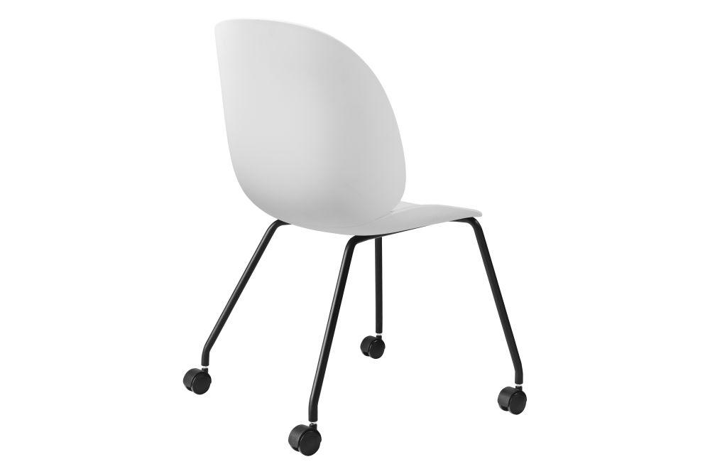 Beetle Meeting Chair - Un-Upholstered, 4 Legs with Castors  by Gubi