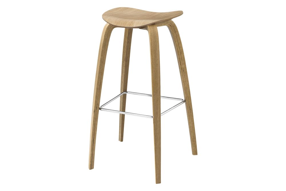 2D Bar Stool - Un-Upholstered, Wood Base by Gubi