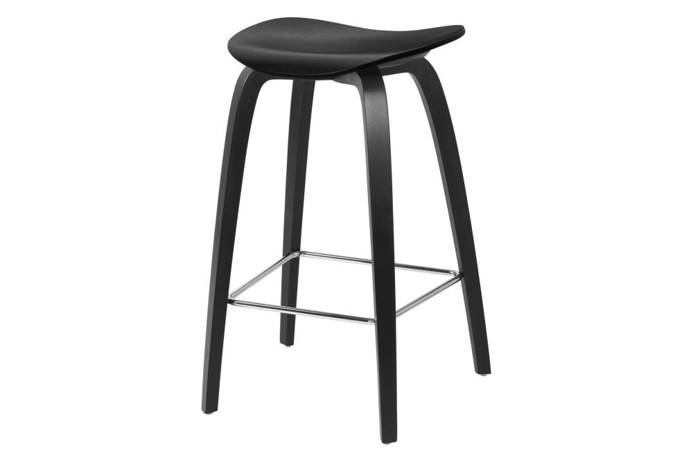 2D Counter Stool - Un-Upholstered, Wood Base by Gubi