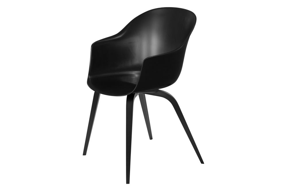 Bat Dining Chair - Un-Upholstered, Wood Base by Gubi