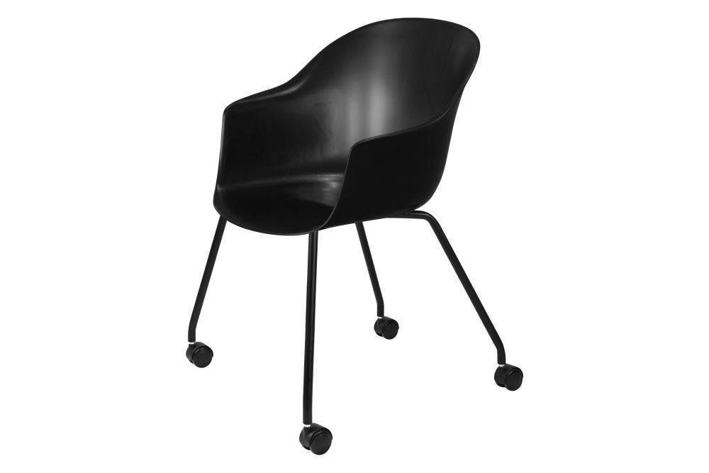 Bat Meeting Chair - Un-Upholstered, 4 Legs with Castors by Gubi
