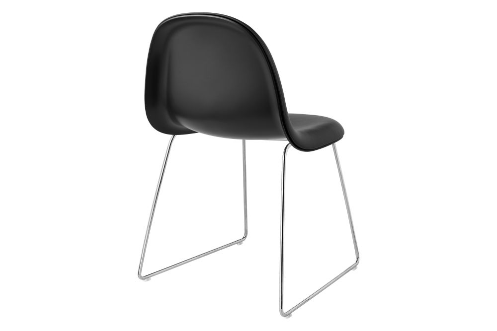 3D Dining Chair - Front Upholstered, Sledge Base, Stackable, Hirek Shell by Gubi