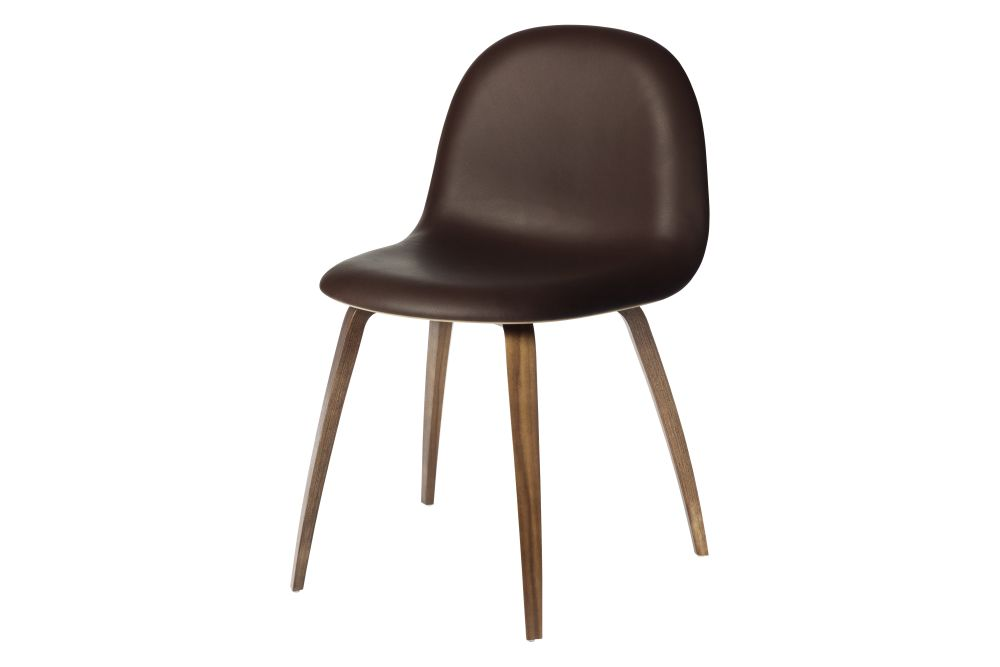 3D Dining Chair - Front Upholstered, Wood Base, Wood Shell by Gubi