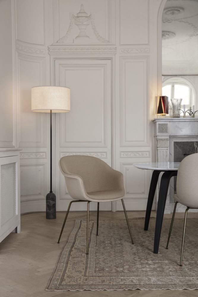 Bat Dining Chair Fully Upholstered Conic Base By Gubi
