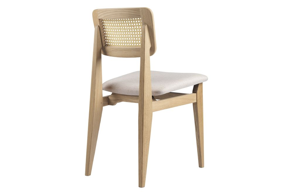 C-Chair Dining Chair - Seat Upholstered, French Cane Back by Gubi