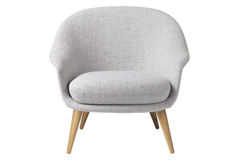 Bat Lounge Chair - Fully Upholstered, Low back, Wood base by Gubi