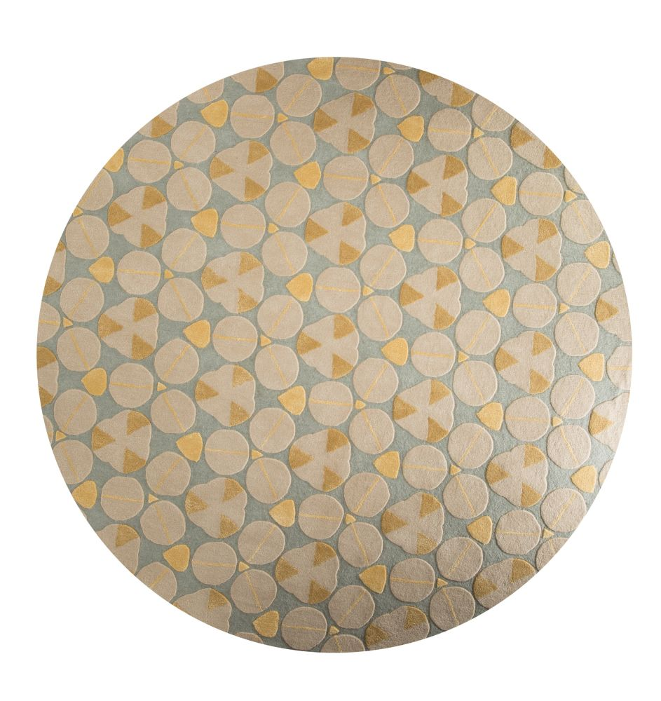 Glacial Blue,Jaipur Rugs,Rugs,beige,circle,design,pattern,plate,yellow