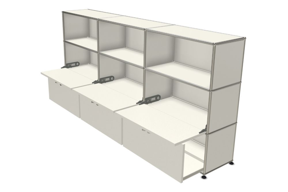 Pure White,USM Modular Furniture,Workplace Sideboards,bookcase,display case,furniture,shelf,shelving,table