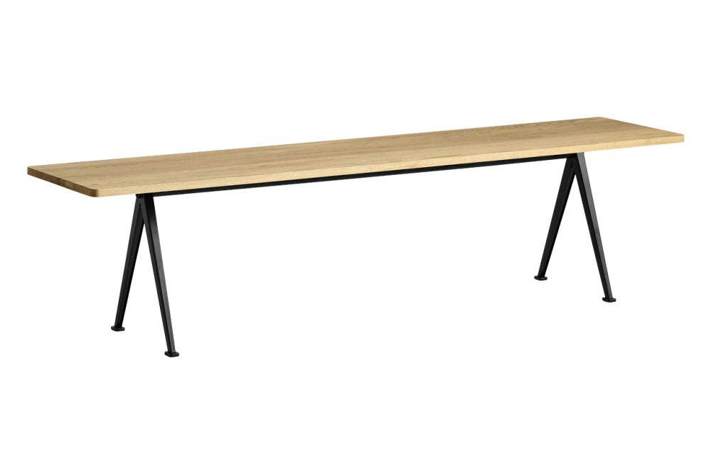Wood Clear Oak, Metal Black, 190,Hay,Benches,desk,furniture,outdoor table,rectangle,table