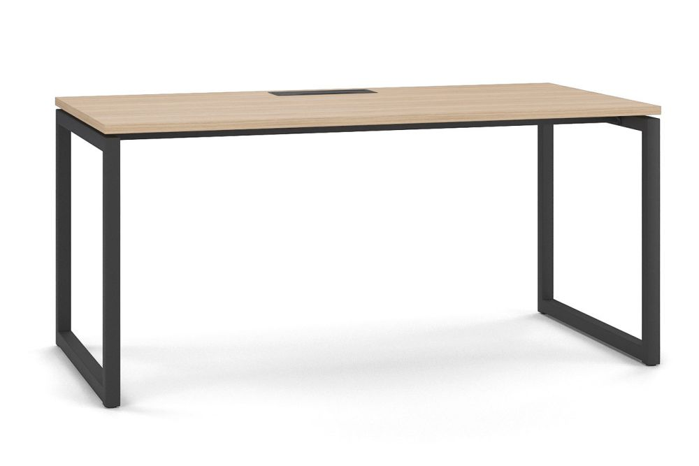 With Cut-out for wire management, N Light Grey, A Black Metal, 180 x 80 x 74,Narbutas,Office Tables & Desks,computer desk,desk,end table,furniture,outdoor table,rectangle,sofa tables,table,writing desk
